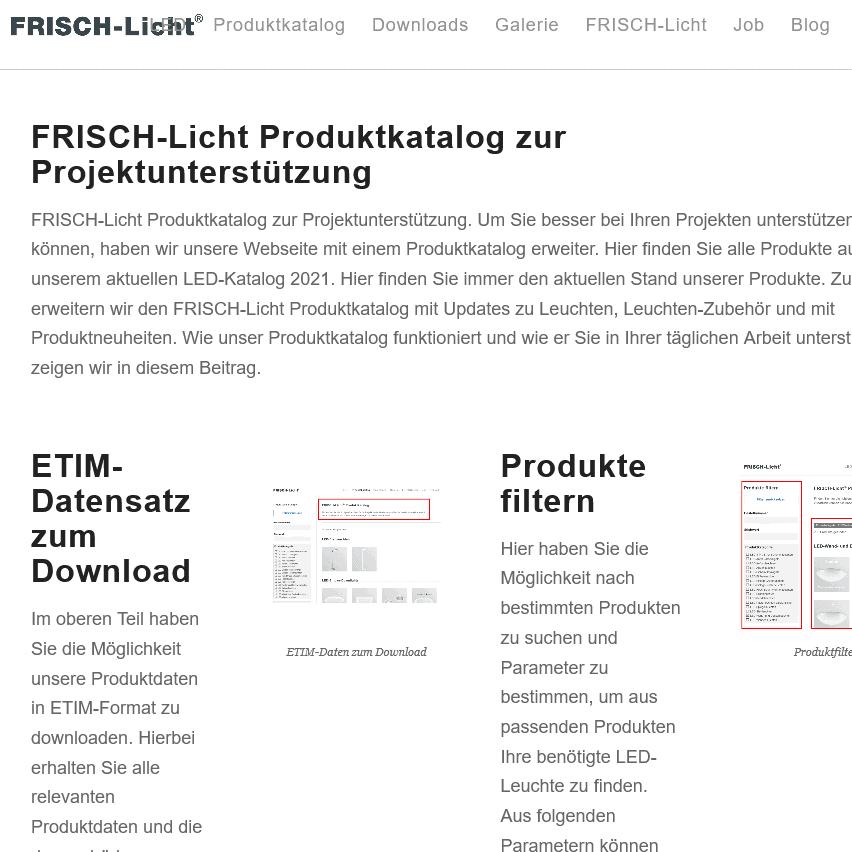 FRISCH-Licht Produktkatalog zur Projektunterstützung