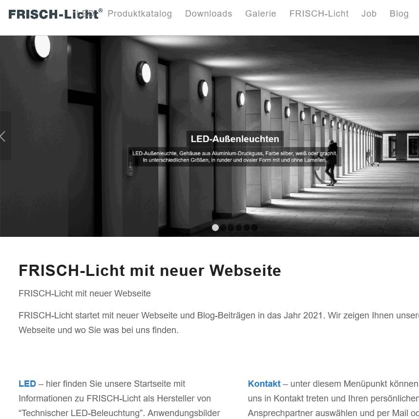 FRISCH-Licht mit neuer Webseite