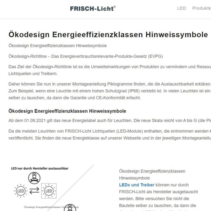 Ökodesign Energieeffizienzklassen Hinweissymbole